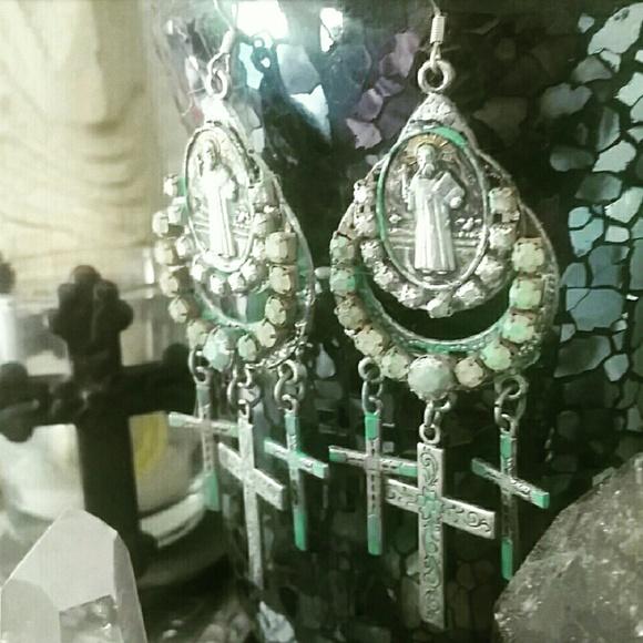 Hippie Chic Jewelry - CROSS AND ST. BENIDICT CHANDELIER EARRINGS
